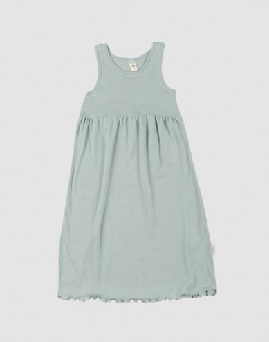 Ärmlös klänning i ekologisk ull/siden pastellgrön