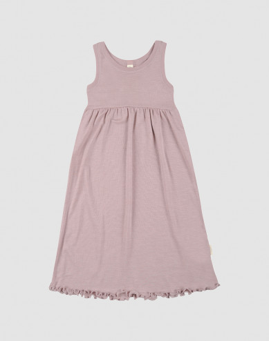 Ärmlös klänning i ekologisk ull/siden pastellrosa