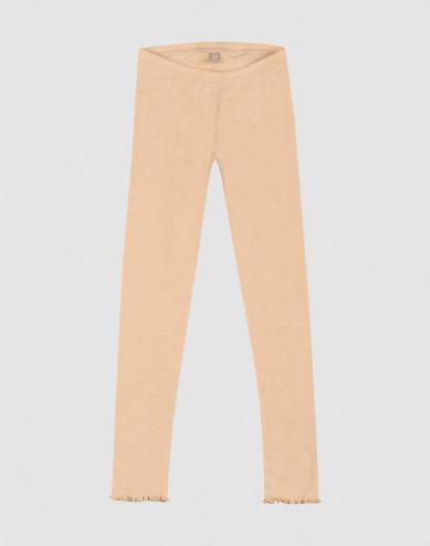 Pointelle-stickade leggings i merinoull/siden för barn