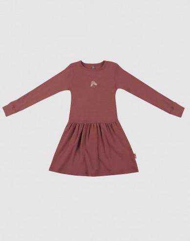 Klänning i ull för barn rouge