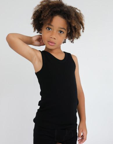 Linne för barn - ekologisk merinoull svart
