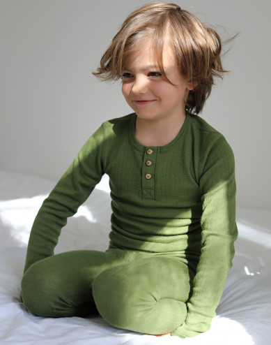 Topp i merinoull med knappar för barn