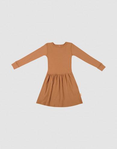 Klänning i ull i ribbstickning karamell