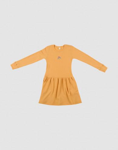 Klänning i ull i ribbstickning gul