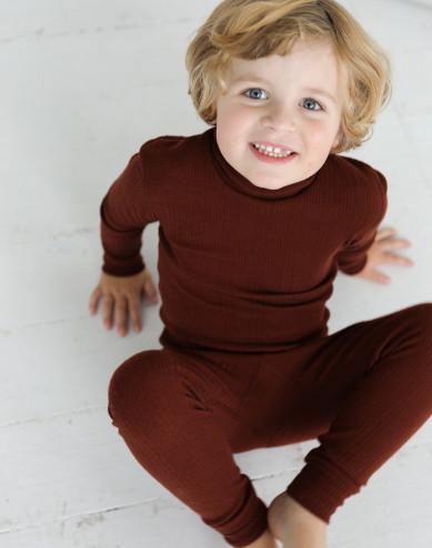 Halvpolo i merinoull för barn