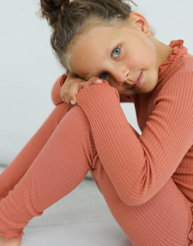 Långärmad topp i merinoull med krusade kanter för barn