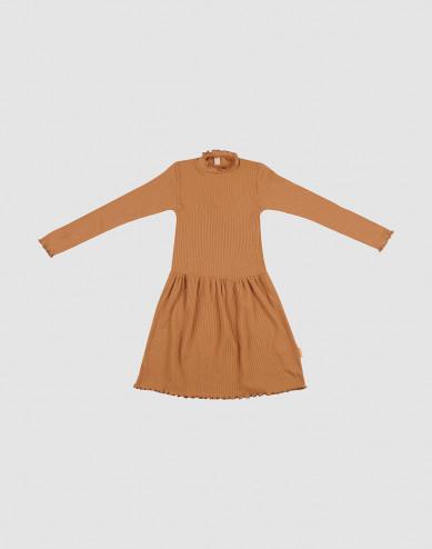 Merinoullsklänning med vågig kant för barn, karamell