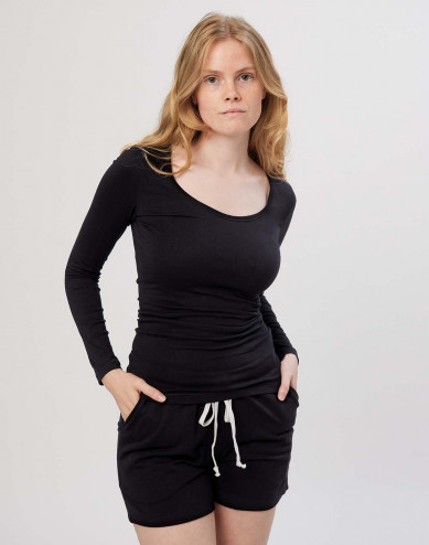 Dam-T-shirt med långa ärmar Ekologisk bomull/elastan svart