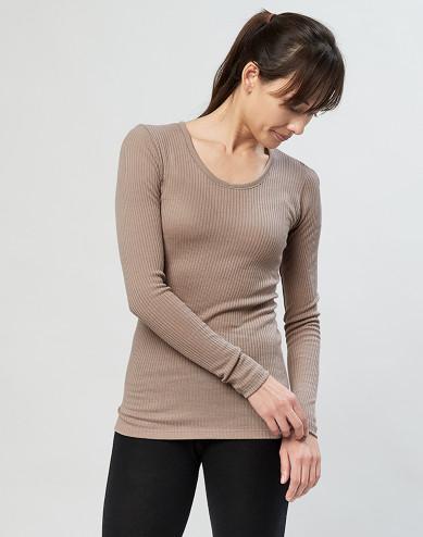 Långärmad tröja för damer - 100 % ekologisk merinoull, sand