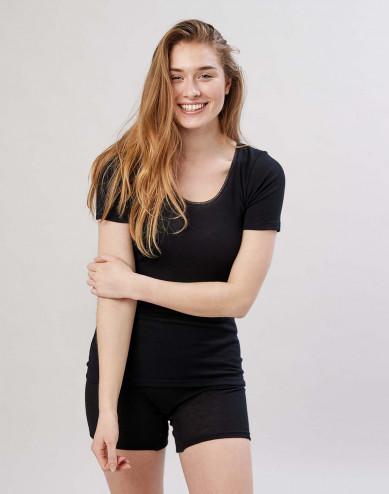 T-shirt Dam i merinoull svart