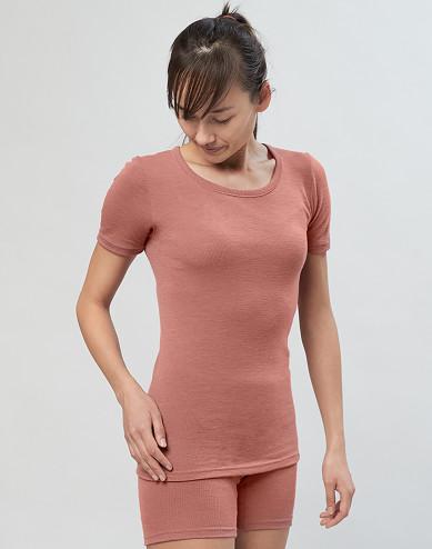 T-shirt i merinoull för dam rosa