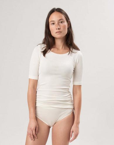 T-shirt i merinoull/siden för dam