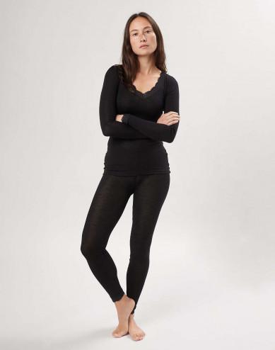 Spetskantade leggings i merinoull/siden för dam