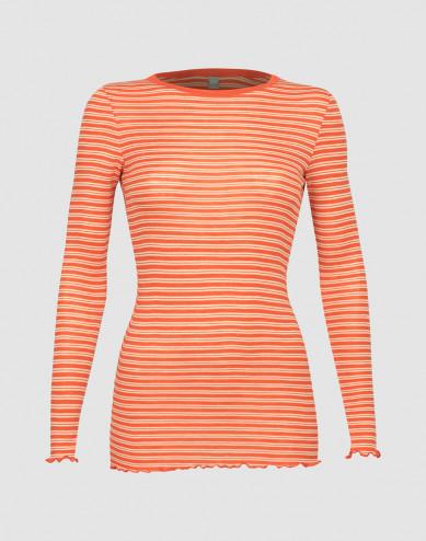 Långärmad tröja för dam i merinoull/siden med krusade kanter