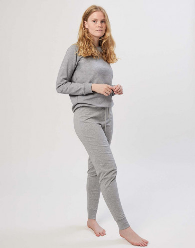 Pyjamasbyxor för dam i bomull gråmelerade