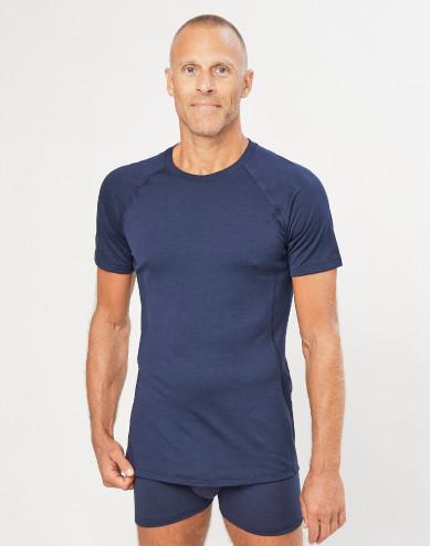T-shirt herr - ekologisk exklusiv merinoull marinblå
