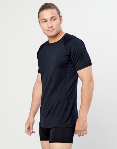 T-shirt herr - ekologisk exklusiv merinoull svart