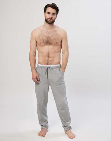 Pyjamasbyxor för män i bomull gråmelerad