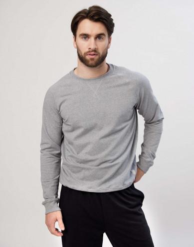 Sweatshirt för herrar i bomull gråmelerad